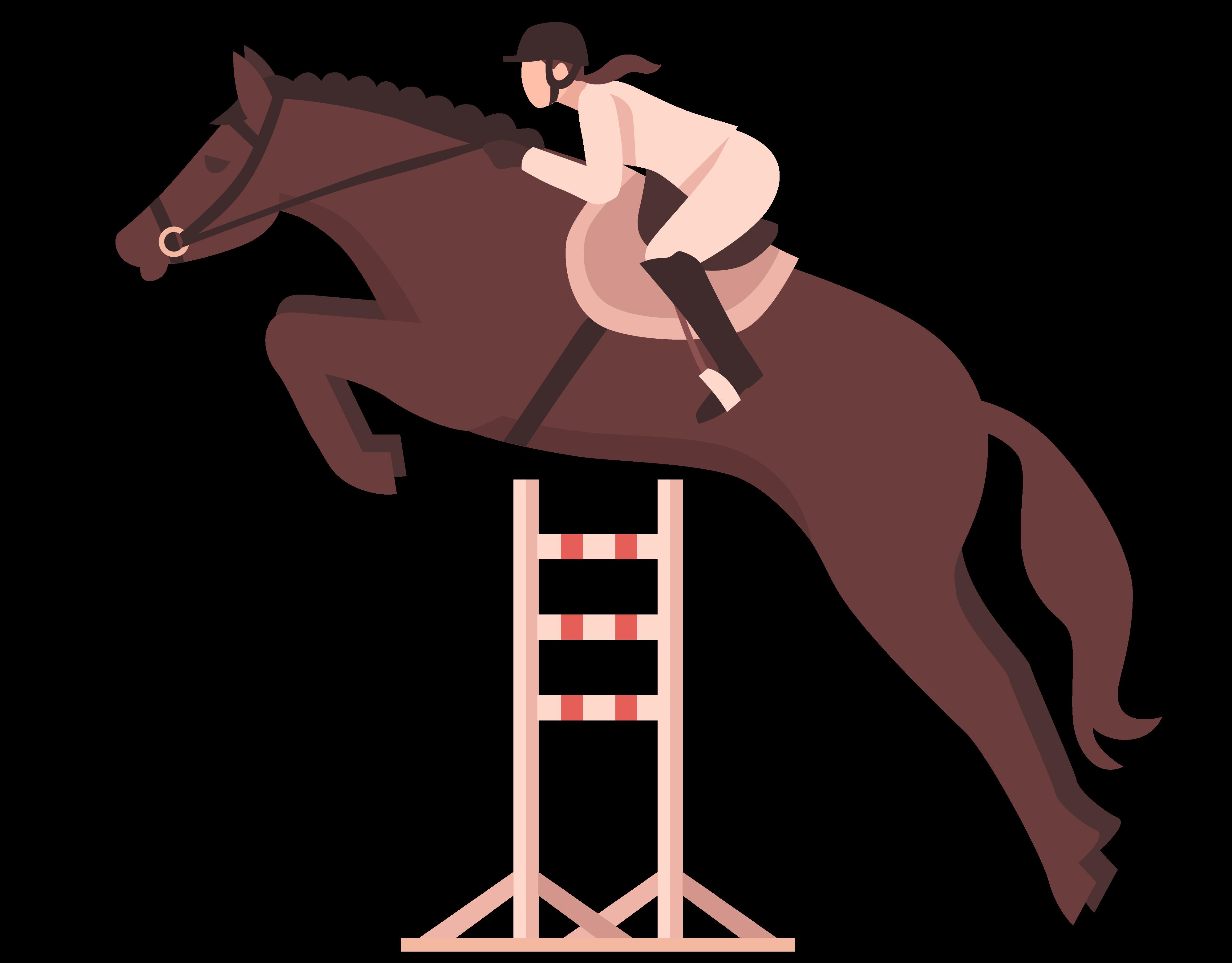 Illustration d'un cavalier à l'obstacle